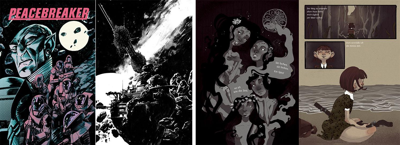 """Rechts: Jonas Scharf, Bachvorarbeit """"Peacebreaker"""", Sommersemester 2015 – Links: Lena Weichselbaumer, 6. Semester """"Plastikland"""", Wintersemester 2015"""